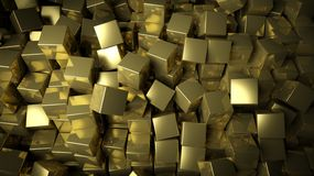 Golden cubes background. 3d Abstract golden cubes background Stock Photos