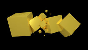 Golden cubes. 3d generated golden cubes on black background Stock Photography