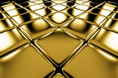 Golden cubes flooring diagonal perspective view Royalty Free Stock Images