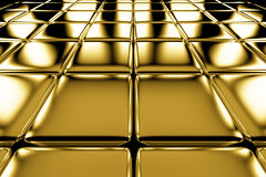 Golden cubes flooring perspective view Stock Images