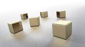 Golden cubes rendered Royalty Free Stock Image