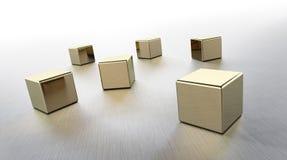 Golden cubes rendered vector illustration