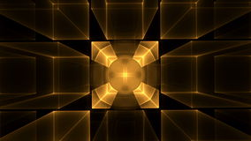 Golden Cubes Rotating in Perspective Royalty Free Stock Images