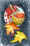 Golden cup with berry drink. With autumn foliage and berries vector illustration