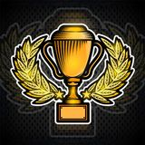 Golden cup in the center of laurel wreath. Vector sport logo on dark for any team or competition.  vector illustration