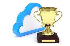 Golden cup with cloud. 3D rendering. Isoalted golden cup with cloud on white background. Blue contour cloud. Concept of cloud storage competition. Leader cloud Stock Image
