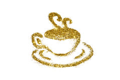 Golden cup of coffee of glitter sparkle on white background Royalty Free Stock Photos