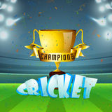Golden Cup for Cricket Sports concept. Stock Image