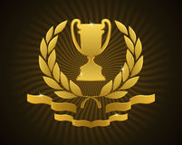 Golden Cup Emblem Stock Photography