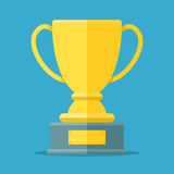 Golden cup for the first place. Golden bowl trophy for the winner. Awards symbol. Flat vector illustration isolated Royalty Free Stock Photography