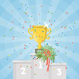 Golden cup on first place. Royalty Free Stock Image