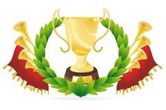 Golden cup with flourish Stock Photos