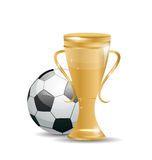 Golden Cup with Football Ball Royalty Free Stock Image
