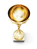 Golden cup isolated on white background. Top view. 3d render ima Royalty Free Stock Images