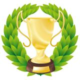 Golden cup with a laureate wreath Royalty Free Stock Photo
