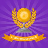 Golden cup with laurel wreath on purple background. Championship awards ceremony banners, trophy cup vector illustration. Competition ceremony, first place Royalty Free Stock Photo