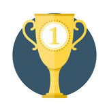 Golden Cup. With number one, flat design Royalty Free Stock Photos