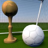 Golden cup over football field Royalty Free Stock Image