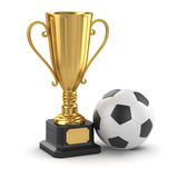 Golden cup and soccer ball Stock Image