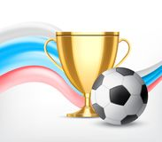 Soccer world cup concept. Golden cup with soccer ball isolated on white background. Soccer world cup concept. Vector icon. EPS10 Royalty Free Stock Image