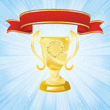 Golden cup on strip blue background Royalty Free Stock Images