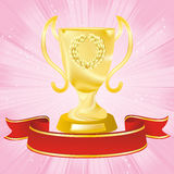 Golden cup on strip pink background Royalty Free Stock Images