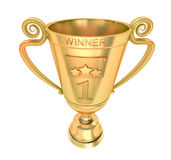 Golden cup of the winner. Isolated on white Stock Images