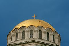 Golden cupola. In Sofia, Bulgaria, chruch Aleksander Nevski stock photos