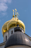 Golden cupola of Russian orthodox church under blue sky Royalty Free Stock Photos