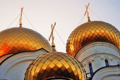 Golden cupolas of Assumption Church in Yaroslavl, Russia. Stock Image