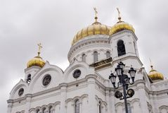 Golden cupolas of Christ the Savior Church in Moscow, Russia Stock Image