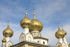 Golden cupolas with crosses Stock Images
