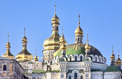 Golden cupolas of Kiev Pechersk Lavra cathedral Royalty Free Stock Image