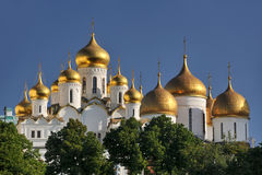 Golden Cupolas of Moscow Kremlin - Domes of Russian Orthodox Chu. The view of magnificent bulbous (onion-shaped) domes covered golden leaf of ancient cathedrals Royalty Free Stock Photography
