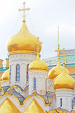 Golden cupolas of old orthodox church Stock Photos