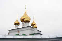 Golden cupolas of Resurrection Monastery in Uglich, Russia. Stock Images