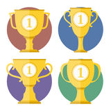 Golden Cups. Sot of different golden cups Royalty Free Stock Image