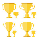 Golden Cups. On white background, flat design Stock Photo