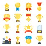 Golden cups for winners and others sport trophy. Golden reward and gold trophy for championship. Vector illustration Royalty Free Stock Photo