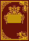 Golden curled frame on dark red background Royalty Free Stock Photos