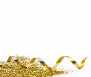 Golden curling ribbon Royalty Free Stock Photography