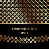 Golden curls brush and pattern template for illustrator. Abstract set for decoration of card, banner, cover and packages. Golden curls brush and pattern Royalty Free Stock Images