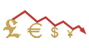 Golden currencies symbol and red line. Isolated on white Royalty Free Stock Photography