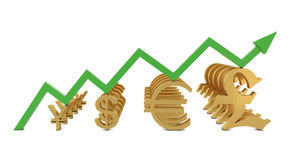 Golden currencies symbols and green growth line Royalty Free Stock Images