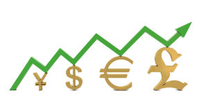 Golden currencies symbols and green growth line Stock Images