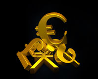 Golden currency euro symbol rising over a pile of Pound,US Dollar,Yen. Stock Images