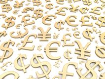 Golden currency symbols Royalty Free Stock Image