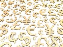 Golden currency symbols. Background. 3d rendered illustration stock illustration