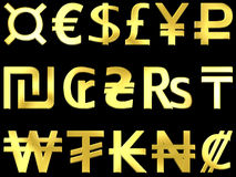 Golden currency symbols 2. Golden currency symbols on a black background Royalty Free Stock Photography