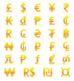 Golden currency symbols Stock Photos